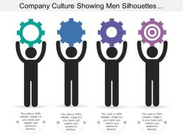 Company Culture Showing Men Silhouettes With Gears And Text Option