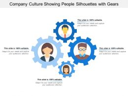 Company Culture Showing People Silhouettes With Gears