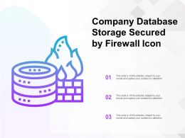 Company Database Storage Secured By Firewall Icon