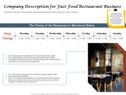 Company Description For Fast Food Restaurant Business Ppt Powerpoint Summary