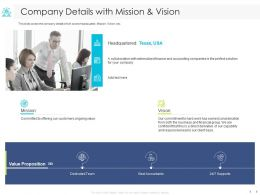 Company Details With Mission And Vision Finance Ppt Powerpoint Presentation Example 2015