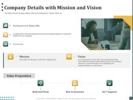 Company Details With Mission And Vision Ppt Powerpoint Presentation Styles Layouts