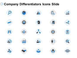 Company Differentiators Icon Slide Ppt Powerpoint Presentation Show Outfit
