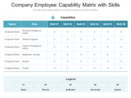 Company Employee Capability Matrix With Skills