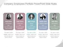 Company Employees Portfolio Powerpoint Slide Rules