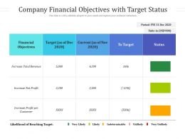 Company Financial Objectives With Target Status