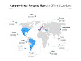 Company Global Presence Map With Different Locations