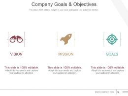Company Goals And Objectives Powerpoint Presentation Examples