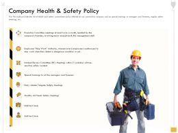 Company Health And Safety Policy And Foremen Ppt Powerpoint Presentation Infographics Pictures