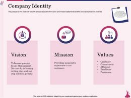 Company Identity Event Management Ppt Powerpoint Presentation Model Show