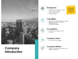 Company Introduction Accreditation Ppt Powerpoint Presentation Portfolio Good