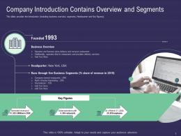 Company Introduction Contains Overview And Segments Ppt Portfolio Microsoft