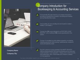 Company Introduction For Bookkeeping And Accounting Services Ppt Powerpoint Slides