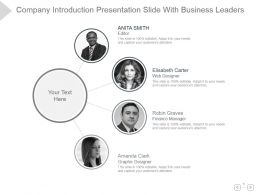 Company Introduction Presentation Slide With Business Leaders