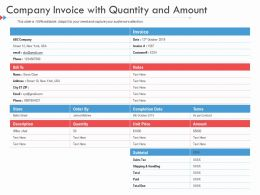 Company Invoice With Quantity And Amount