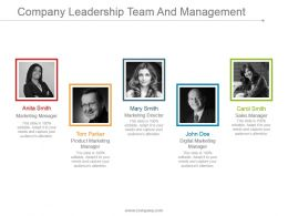 Company Leadership Team And Management Ppt Examples