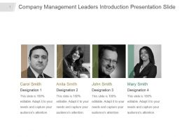 Company Management Leaders Introduction Presentation Slide