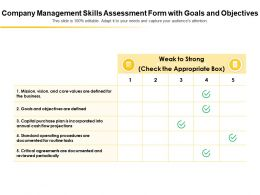 Company Management Skills Assessment Form With Goals And Objectives