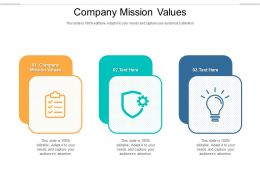 Company Mission Values Ppt Powerpoint Presentation Show Grid Cpb