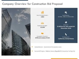 Company Overview For Construction Bid Proposal Ppt Powerpoint Presentation Styles Slide