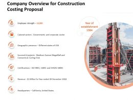 Company Overview For Construction Costing Proposal Ppt Powerpoint Presentation Files