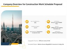 Company Overview For Construction Work Schedule Proposal Ppt Powerpoint Model