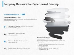 Company Overview For Paper Based Printing Ppt Powerpoint Presentation Styles Format