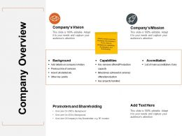 Company Overview Ppt Powerpoint Presentation Outline Backgrounds