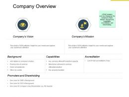 Company Overview Promoters And Shareholding Ppt Powerpoint Presentation Template