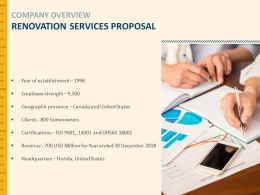 Company Overview Renovation Services Proposal Strength Ppt Powerpoint Slides