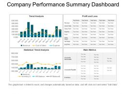 Company Performance Summary Dashboard Ppt Slide Examples