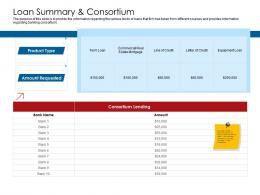 Company Playbook Loan Summary And Consortium Ppt Powerpoint Presentation Model Elements