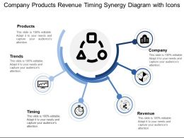 Company Products Revenue Timing Synergy Diagram With Icons