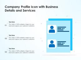 Company Profile Icon With Business Details And Services
