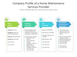 Company Profile Of A Home Maintenance Services Provider
