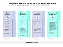 Company Profile Of An IT Solution Provider