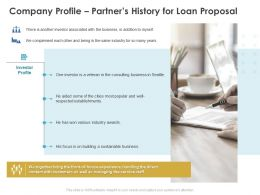 Company Profile Partners History For Loan Proposal Ppt Powerpoint Introduction