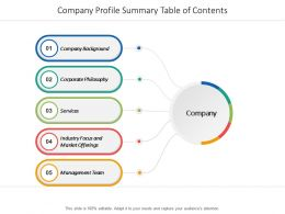 Company Profile Summary Table Of Contents