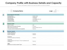 Company Profile With Business Details And Capacity