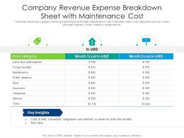 Company Revenue Expense Breakdown Sheet With Maintenance Cost