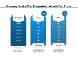 Company Service Plan Comparison List With Two Prices