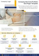 Company Services Portfolio One Pager Template Presentation Report Infographic PPT PDF Document