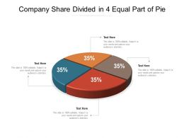 Company Share Divided In 4 Equal Part Of Pie