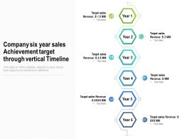 Company Six Years Sales Achievement Target Through Vertical Timeline