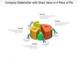 Company Stakeholder With Share Value In 4 Piece Of Pie