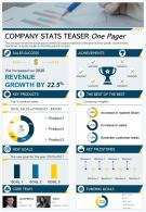 Company Stats Teaser One Pager Presentation Report Infographic PPT PDF Document