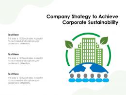 Company Strategy To Achieve Corporate Sustainability