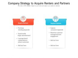 Company Strategy To Acquire Renters And Partners