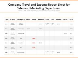 Company Travel And Expense Report Sheet For Sales And Marketing Department