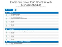 Company Travel Plan Checklist With Business Schedule